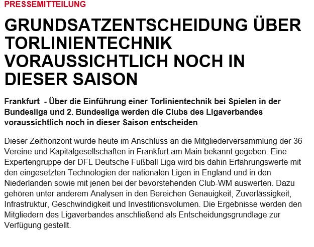 Pressemitteilung der DFL