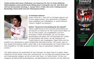 Korkut wird bei hannover96.de vorgestellt (Foto: hannover96.de)