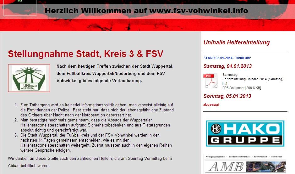 Mitteilung auf der FSV-Homepage (Screenshot: Facebook)