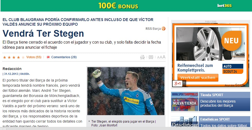 Sport berichtet immer wieder über die Barca-Einigung mit ter Stegen (Foto: Screenshot sport.es)