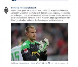 Marc-André ter Stegen verlässt Borussia! (Screenshot: Facebook)