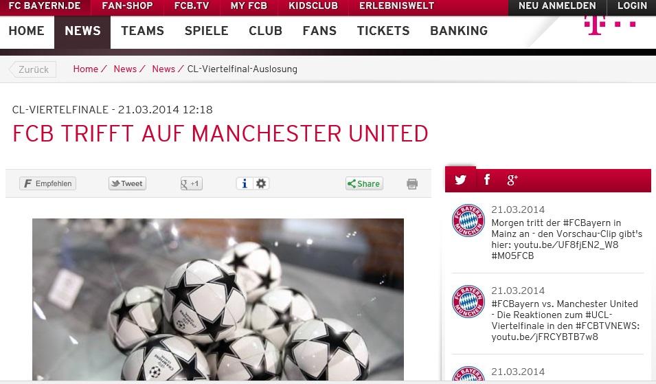 CL-Viertelfinale: Bayern trifft auf ManU
