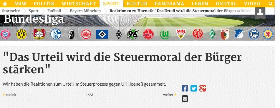 """Stimmen zum Fall Hoeneß gab es auch in der """"Rheinischen Post"""" (Foto; Screenshot)"""