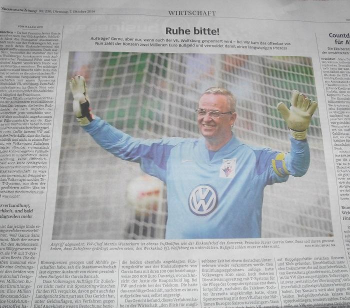 VfL Wolfsburg: VW-Aufträge nur für Sponsoren-Kohle (Repro: Uwe Jansen)